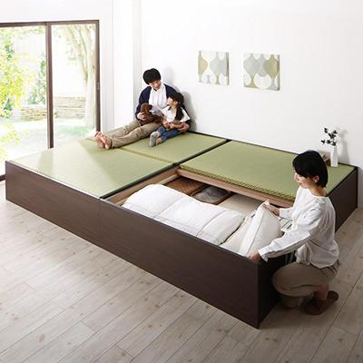 送料無料 お客様組立 日本製・布団が収納できる大容量収納畳連結ベット ベットフレームのみ い草畳 ワイドK220(S+SD) 500040069