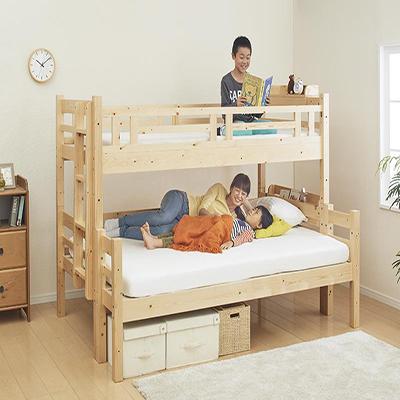 送料無料 ベット 2段ベット (シングル・ダブル) キニオン 耐荷重150kg 木製ベット ロータイプベット コンパクト ベッド 二段ベッド 2段ベッド 床下活用 すのこ床板 エキストラベット 連結 添い寝 子供用ベット 子供ベット 大人用 子供部屋 新入学 すのこ 北欧 040117228