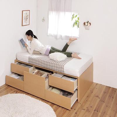 送料無料 日本製 ショート丈 小さい 180cm シングルベット フレーム マット付き 収納付き シングル マットレスセット ヘッドレス 大容量 コンパクト チェストベット クリージョン 薄型スタンダードポケットコイルマットレス付き 木製 引き出し かわいい おしゃれ 040117946