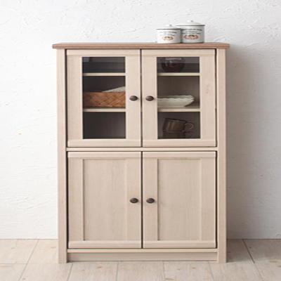 送料無料 食器棚 コンパクト ミニ食器棚 木製 カントリー調キッチン収納 ラポ キッチンラック キッチンボード カップボード 食器収納 収納棚 カントリーテイスト 北欧 ワンルーム 一人暮らし おしゃれ 040500355