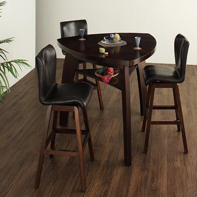 送料無料 丸みを帯びた三角形のバーテーブル テーブル4点セット ダイニングテーブルセット ダイニング ダイニングチェア 木製テーブル アジアンモダンデザインカウンターダイニング -Bar.EN/4点セットAタイプ(テーブル+チェア×3) 家具通販 新生活 敬老の日 040600026