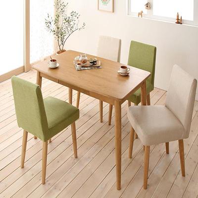 送料無料 天板の丸みは小さなお子様がいらっしゃるご家庭でも 安心安全です テーブルセット ダイニングテーブル5点セット ダイニングチェア 木製テーブル 食卓テーブル 天然木タモ無垢材ダイニング -ユニカ/5点セットA(テーブルW115+カバーリングチェア×4) 040600131