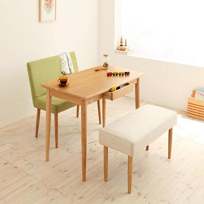 送料無料 テーブルセット ダイニングテーブル3点セット 木製テーブル ダイニングベンチ 食卓テーブル 天然木タモ無垢材ダイニング -ユニカ/ベンチタイプ3点セットA(テーブル幅115cm+カバーリングベンチ+ソファベンチ)- 無垢 家具通販 040600133