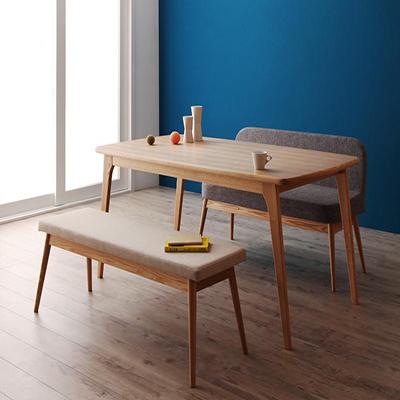 送料無料 テーブルセット ダイニングテーブル3点セット 木製テーブル 食卓テーブル ダイニング リビングテーブル ダイニングベンチ ダイニングソファベンチ 天然木北欧スタイルダイニング -オンネル/3点セット(テーブル+ベンチ+ソファベンチ)- 北欧 新生活 敬老の日