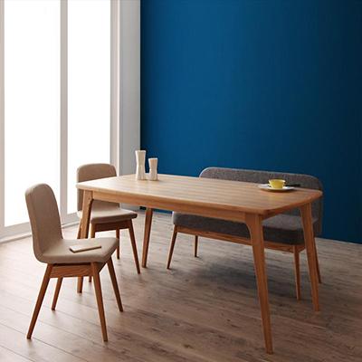 送料無料 テーブルセット ダイニングテーブル4点セット 木製テーブル 食卓テーブル ダイニング リビングテーブル ダイニングソファベンチ ダイニングチェア 天然木北欧スタイルダイニング -オンネル/4点セット Bタイプ (テーブル+ソファベンチ+チェア×2)- 北欧 新生活父の日