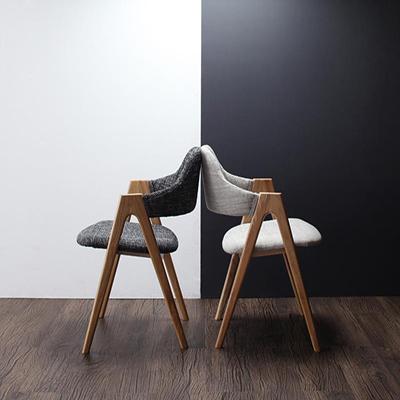 送料無料 北欧 モダン ダイニングチェアのみ 2脚組 チェアー チェア ダイニングチェアー リビングチェア 2脚セット ファブリック イラーリ 食卓椅子 いす イス 椅子 ハーフアーム 木脚 天然木 木目 おしゃれ 040600152