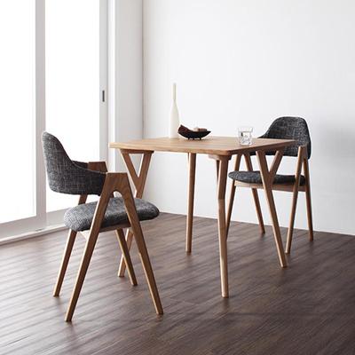送料無料 北欧 モダン ダイニングテーブルセット (テーブル 幅80cm+ チェア 2脚) 3点セット 2人掛け ダイニングセット 木製テーブル 食卓テーブル ダイニングテーブル ダイニングチェア デザイナーズ ダイニング セット イラーリ 天然木 木目 おしゃれ 040600153