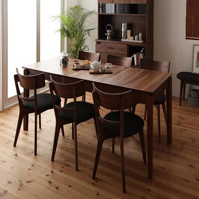 送料無料 ダイニング7点セット 幅120 150 180 テーブル+チェア×6 7点セット 天然木ウォールナットエクステンションダイニング ヌーベル 天板 伸ばせる 伸縮テーブル 伸長 ダイニングテーブルセット 食卓セット チェア ウォールナット無垢材 木製 040600853