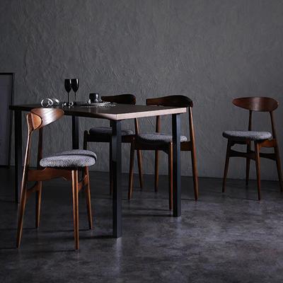 送料無料 デザイナーズダイニングセット 5点MIXセット (テーブル 幅150cm+チェアA×2+チェアB×2) トムズ 天然木ウォールナット ダイニングテーブルセット 高級感 エルボーチェア CH33チェア チェアー 椅子 イス いす テーブルセット 食卓セット ダイニングセット 040601111