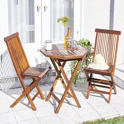 送料無料 ガーデン テーブル セット 3点セットD(テーブル八角形 幅70+チェア(肘無)×2) 折りたたみ チーク天然木 折りたたみ式本格派リビングガーデンファニチャー フォーン ガーデンファニチャーセット 庭 エクステリア テーブルセット ガーデンテーブル 折り畳み