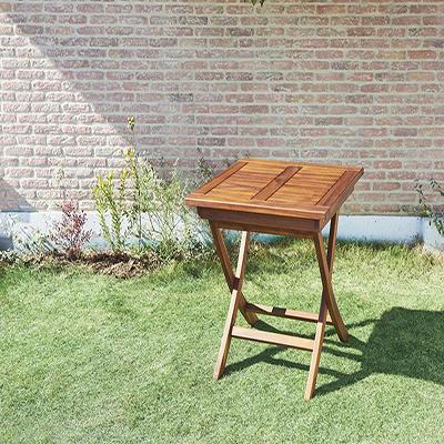 送料無料 ガーデン テーブルA (正方形) 70×70 チーク天然木 折りたたみ式本格派リビングガーデンファニチャー フォーン テーブル単品 ガーデンテーブル 折り畳み 机 つくえ テラス ベランダ 屋外 木製テーブル 2人掛け 2人用 040601193