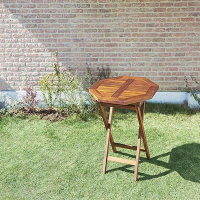 送料無料 ガーデン テーブルA (八角形) 70×70 チーク天然木 折りたたみ式本格派リビングガーデンファニチャー フォーン テーブル単品 ガーデンテーブル 折り畳み 机 つくえ テラス ベランダ 屋外 木製テーブル 2人掛け 2人用 040601194