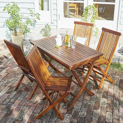 送料無料 ガーデン テーブル セット 5点セットB(テーブル 幅120cm+チェアB(肘無)×4) チーク天然木 折りたたみ式本格派リビングガーデンファニチャー モッソ ガーデンファニチャーセット 庭 エクステリア テーブルセット ガーデンテーブル 折り畳み 木製 おしゃれ