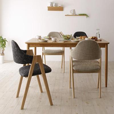 送料無料 天然木 北欧ナチュラルデザイン ダイニング【Tiffin】ティフィン/5点セット(テーブル+チェア×4) 040601457