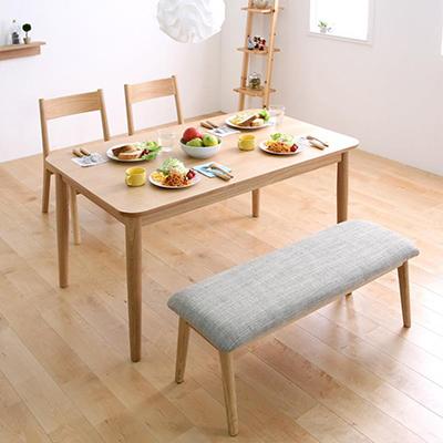送料無料 テーブルセット ダイニングテーブル4点セット ダイニングチェア リビングテーブル 木製テーブル 天然木ロースタイルダイニング -クック- 4点セット(ダイニングテーブル(幅130cm) チェア2脚 ベンチ1台) ナチュラル ブラウン 茶 家具通販 新生活 敬老の日 040605083