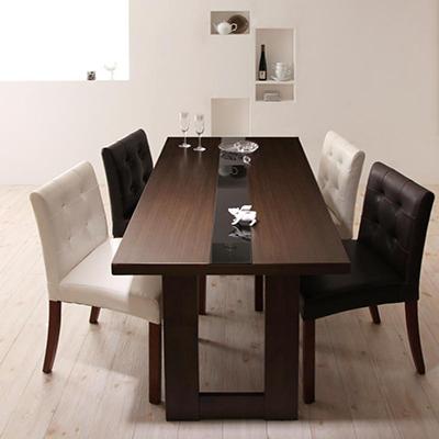 送料無料 テーブルセット ダイニングテーブル5点セット 食卓テーブル モダンデザインダイニング ダイニングチェア 木製テーブル -ウッド×ブラックガラスダイニングテーブル5点セット(ガラステーブル幅150cm レザーチェア4脚)- 家具通販 新生活 敬老の日 040605230