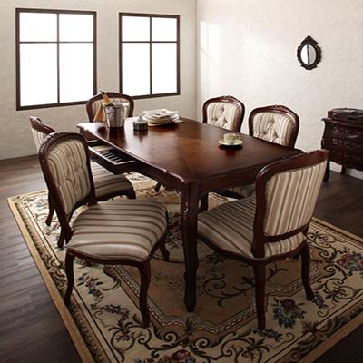 送料無料 ダイニングテーブル7点セット テーブル 木製テーブル ダイニングチェア 6人掛け 6人用 ヨーロピアンクラシックデザイン アンティーク調ダイニング -サロモーネ/7点セット(テーブル幅150cm+チェア×6)- ブラウン ホワイト 茶 白 アンティーク調 新生活 敬老の日