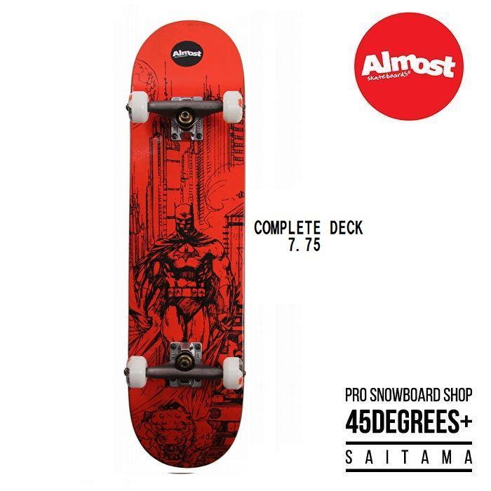 デッキテープ付き ALMOST COMPLETE コンプリート スケボー TEAM BATMAN JIM LEE RED 7.75インチ