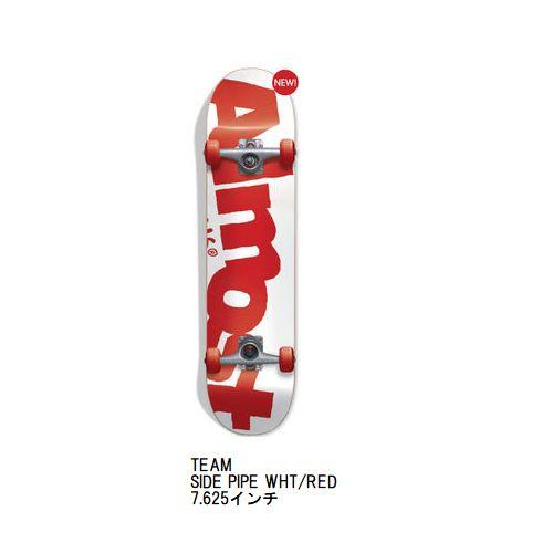 デッキテープ付き ALMOST COMPLETE コンプリート スケボー TEAM SIDE PIPE WHT/RED 7.625インチ