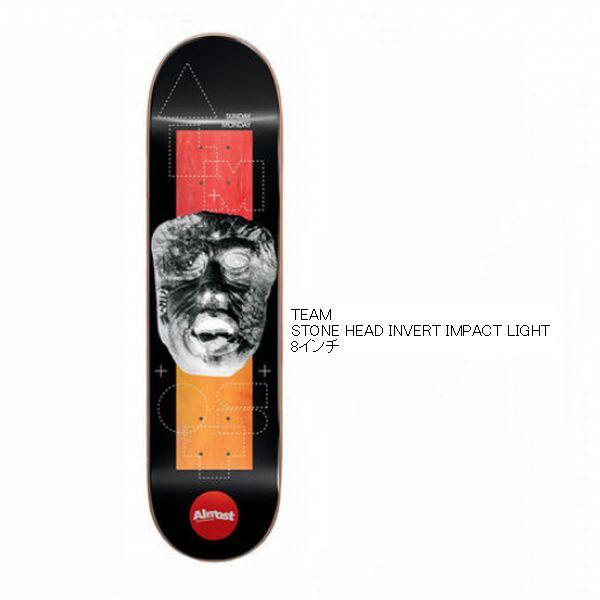 デッキテープ付き ALMOST オールモスト TEAM STONE HEAD INVERT IMPACT LIGHT 8インチ