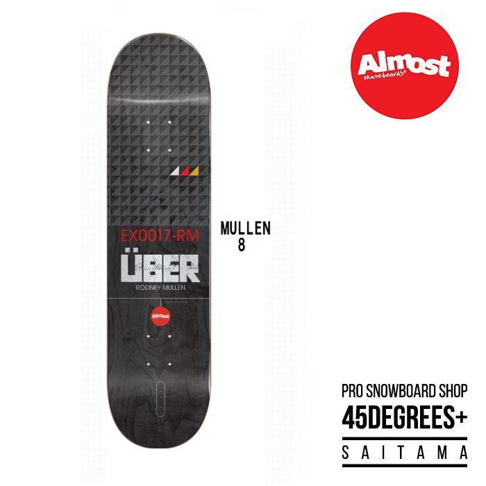 デッキテープ付き ALMOST UBER オールモスト スケボー MULLEN UBER EX17 BLACK 8インチ