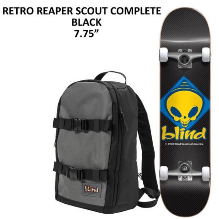 デッキテープ付き BLIND COMPLETE スケボー TEAM RETRO REAPER SCOUT BLACK 7.75インチ