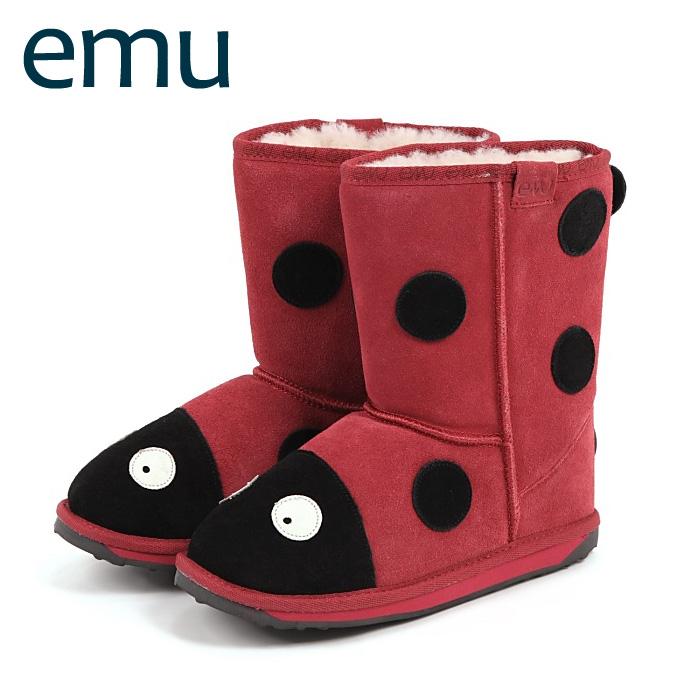 【クーポンで50%オフ】 エミュ / EMU キッズブーツ シープスキン ブーツ LITTLE CREATURE LADYBIRD RED/レッド 【ベビーキッズ】 【K10111】 送料無料