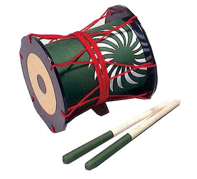 前太鼓 (舞台用、バチ付き) 巾約18cm×約18Φ