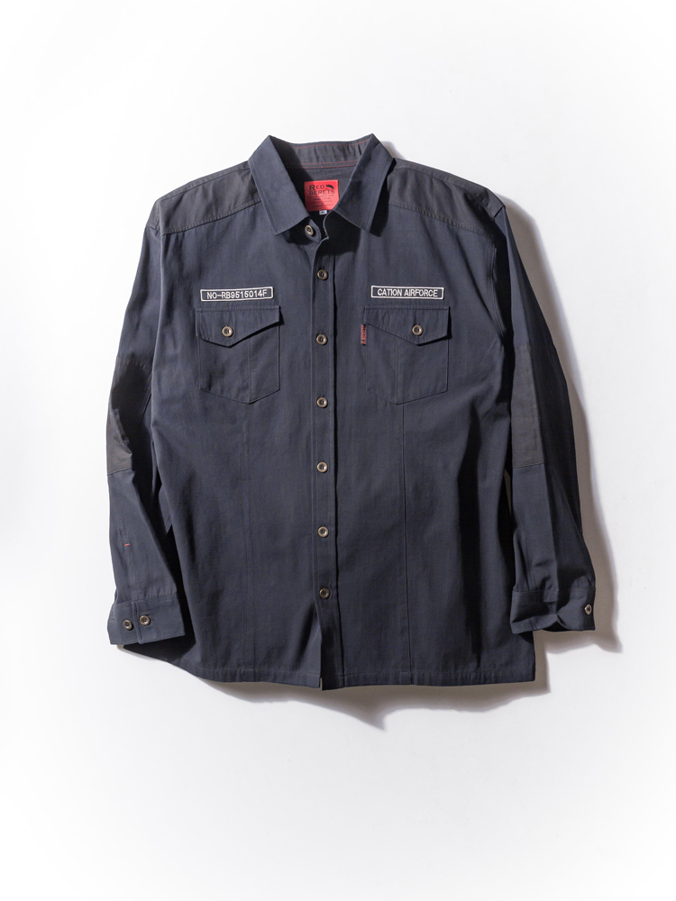 大きいサイズ メンズ 3L 4L 5L ムラツイルxキャンバスミリタリーシャツ ブラック・無地 大きいサイズの店 フォーエル
