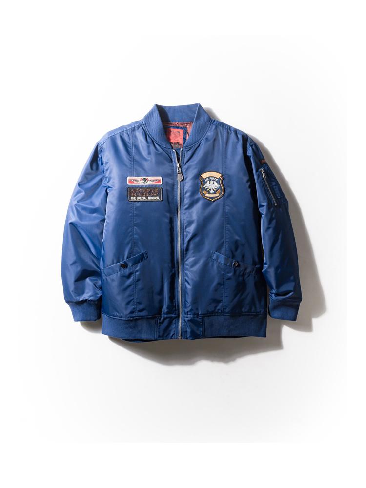 【早割】中綿ジャケット 大きいサイズ メンズ アウター 3L 4L 5L RED BERETS(レッドベレー) ナイロンツイル中綿MA-1 ブルー・無地 大きいサイズの店 フォーエル