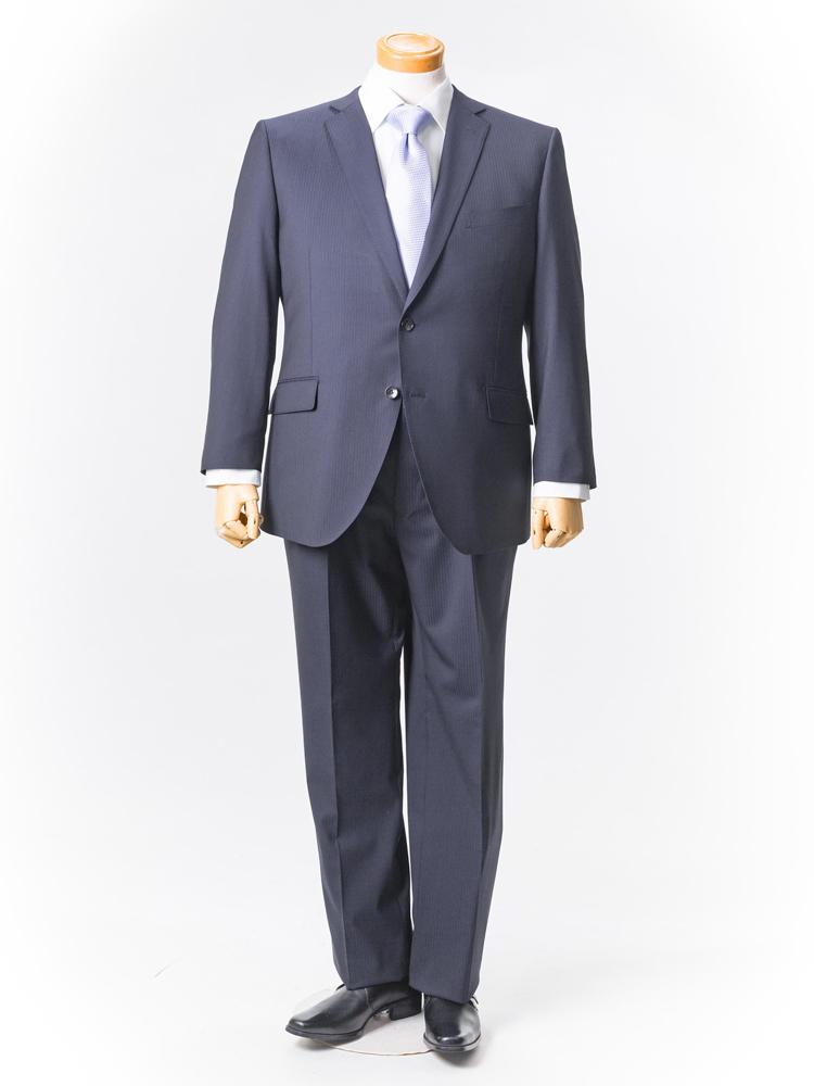 【半額】スーツ 大きいサイズ メンズ 紳士服 3L 4L 5L renoma HOMME 2釦2ピーススーツ【2wayストレッチ・アジャスター】 ネービー・シャドウストライプ 大きいサイズの店 フォーエル