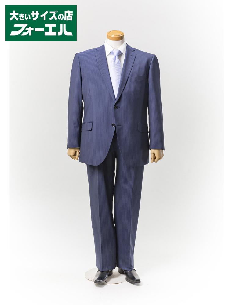 【半額】スーツ 大きいサイズ メンズ 紳士服 3L 4L 5L renoma HOMME 2wayストレッチスーツ 2釦2ピース【アジャスター付き】ネービー・ストライプ 大きいサイズの店 フォーエル