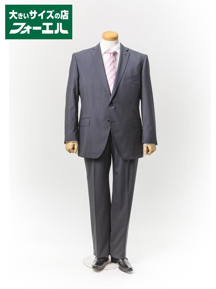 【早割】スーツ 大きいサイズ メンズ 紳士服 3L 4L 5L renoma HOMME 2wayストレッチスーツ 2釦2ピース【アジャスター付き】ミドルグレー・ストライプ 大きいサイズの店 フォーエル