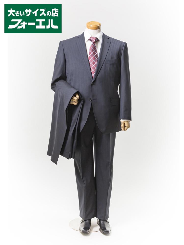 【半額】スーツ 大きいサイズ メンズ 紳士服 3L 4L 5L renoma HOMME 2wayストレッチスーツ 2釦2パンツ【アジャスター付き】ブラック・シャドウストライプ 大きいサイズの店 フォーエル