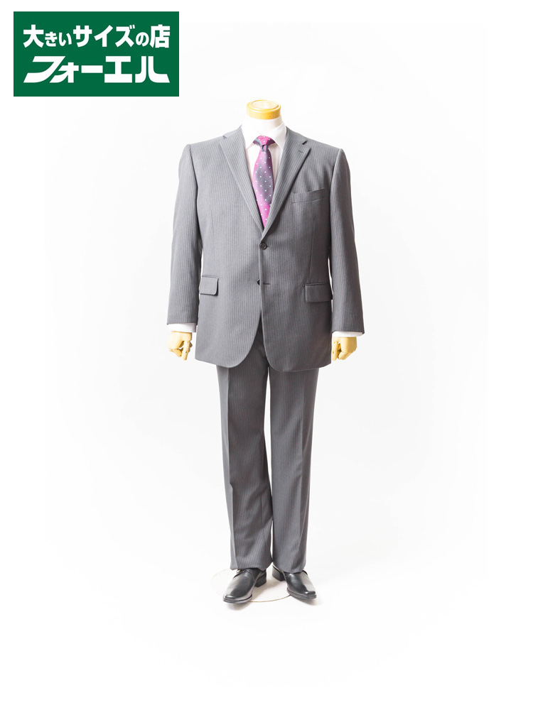 【半額】スーツ 大きいサイズ メンズ 紳士服 スーツ 3L 4L 5L Franco Rosati P100 ストレッチ ストライプ 2B2P【AJ】ファイテン裏地 KB 大きいサイズの店 フォーエル
