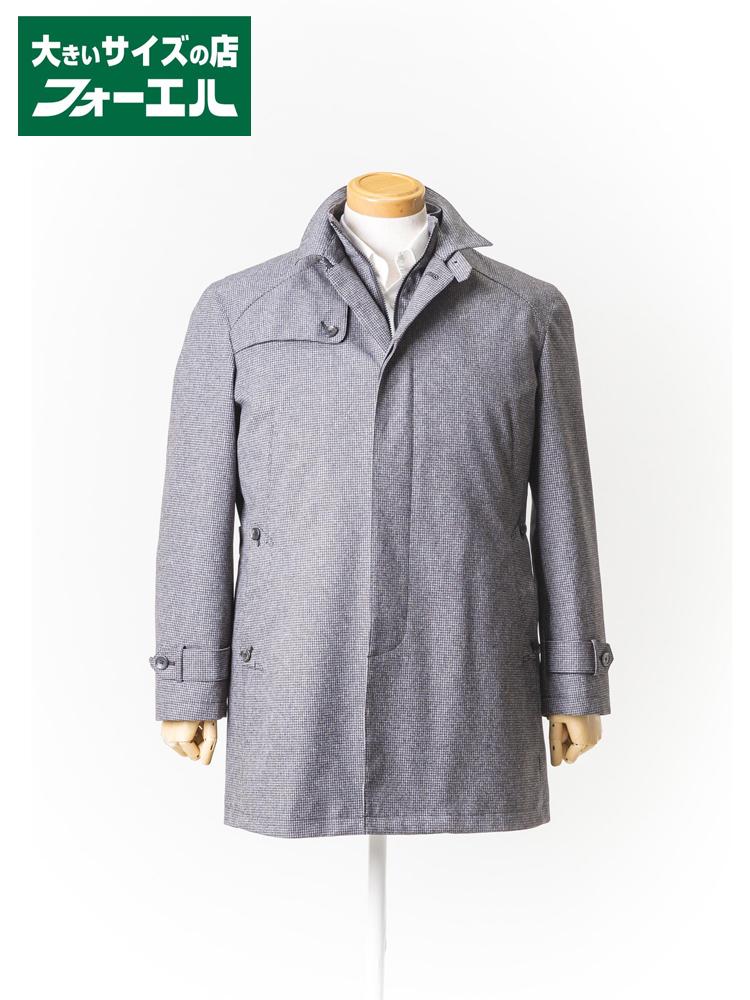 コート 大きいサイズ メンズ 紳士服 3L 4L 5L Fnco Roti スタンドカラーコート【ダウンライナー】 チャコールグレー/千鳥格子 大きいサイズの店 フォーエル