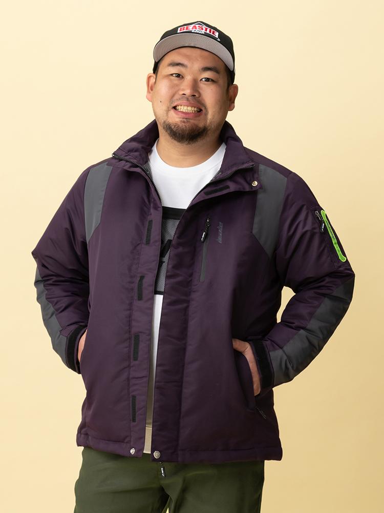 【早割】ダウンジャケット 大きいサイズ メンズ アウター 3L 4L 5L アポイ グログラン裏キルトダウンジャケット パープル 大きいサイズの店 フォーエル