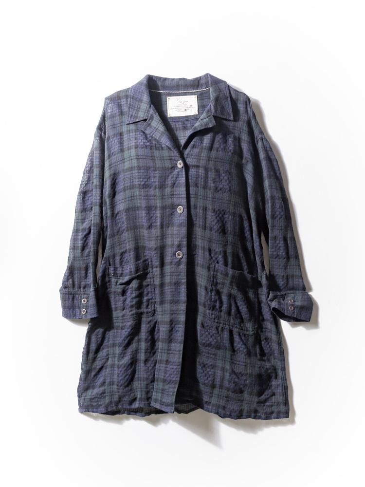 大きいサイズ レディース 3L 4L 5L No Jean(ノージーン) 微起毛チェックオープンカラーロングシャツアウター ブラック・チェック 大きいサイズの店 フォーエル