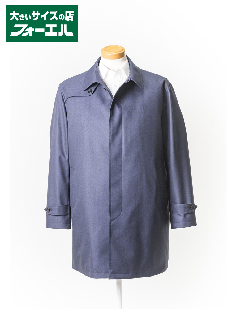 コート 大きいサイズ メンズ 紳士服 3L 4L 5L Franco Rosati ステンカラーコート【ライナー付・撥水加工】 ネービー/ヘリンボ 大きいサイズの店 フォーエル