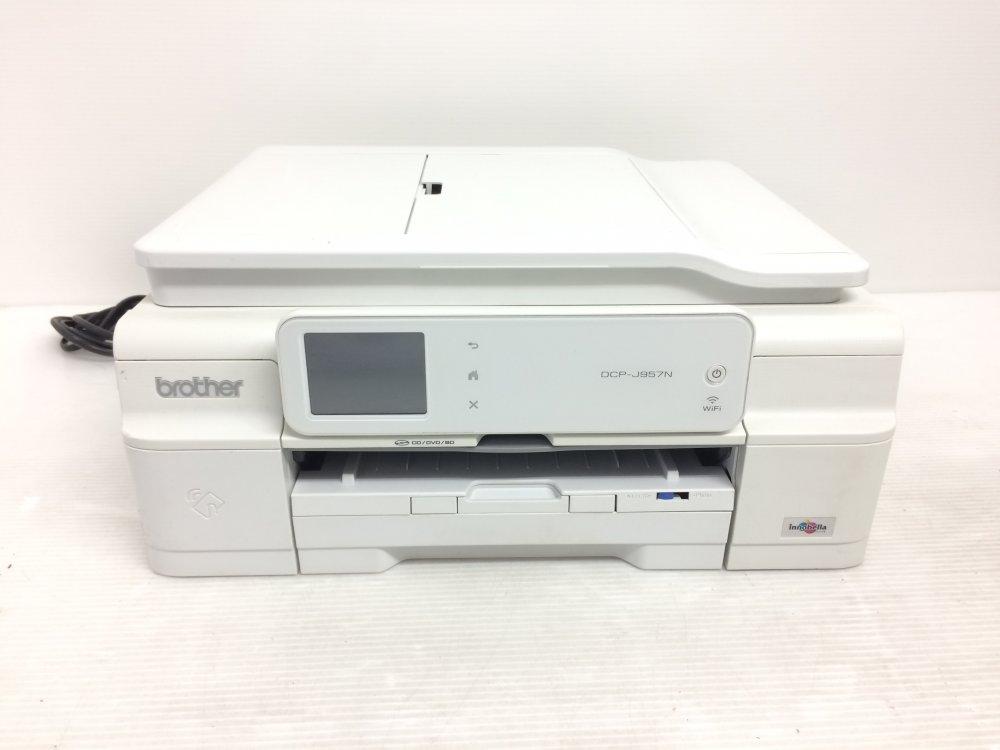 【中古】brother A4インクジェットプリンター複合機/白モデル/10/12ipm/両面印刷/有線・無線LAN/ADF DCP-J957N-W