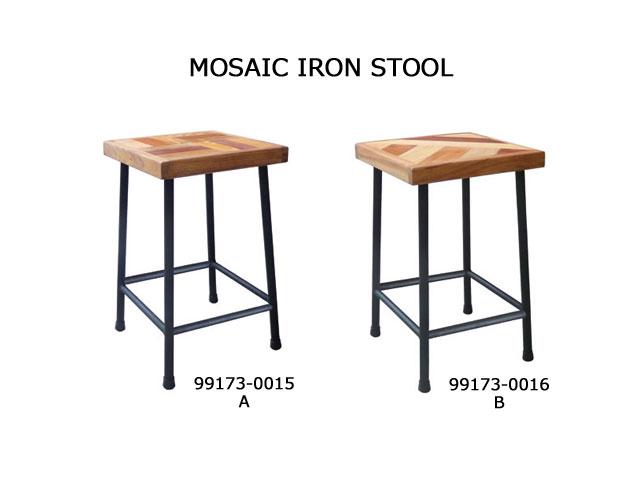【500WORKS.】送料無料MINAMIKARA MOSAIC IRON STOOL-A/B(完成品)【テーブル/ダイニング/木製/国産/天然木】
