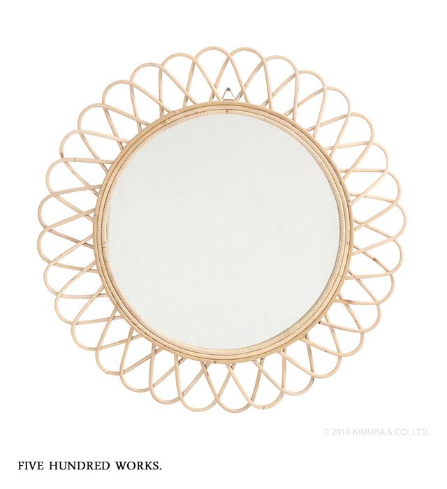 ラタン サンミラー 花型 径70cm (Q17454ND)※送料無料 500WORKS.鏡 壁掛け 大型 ミラー mirror