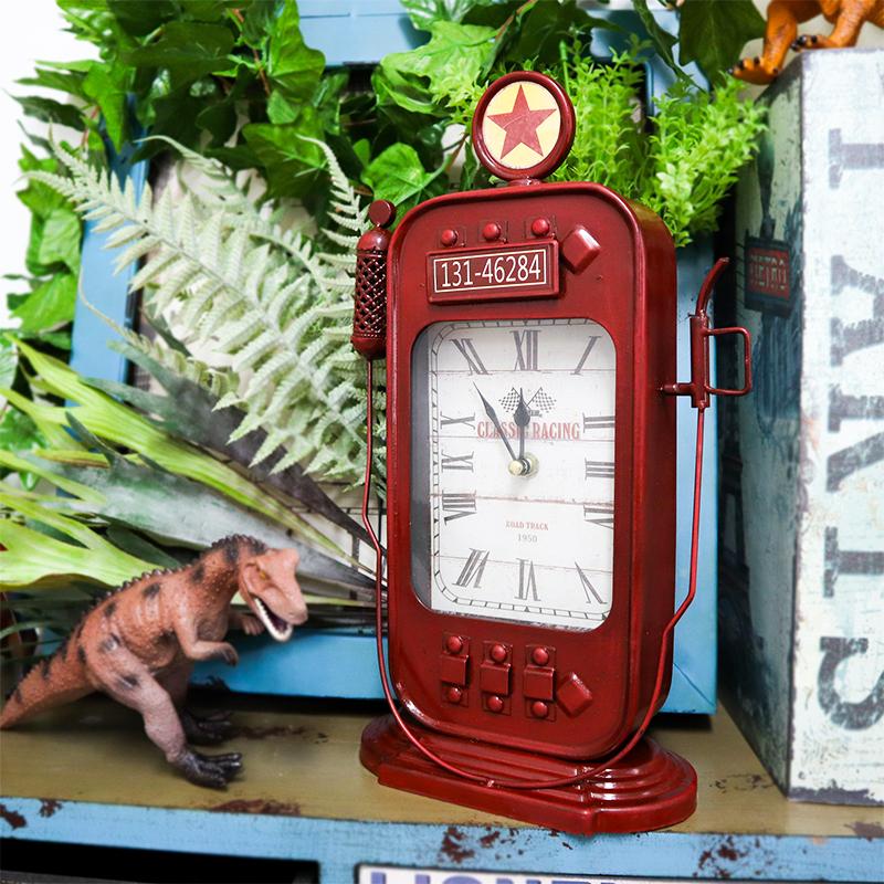 \在庫処分 早い者勝ち 公式 アメリカンレトロ調 置き時計 アナログ CLASSIC PUMP GAS 給油機 レッド RACING 評判