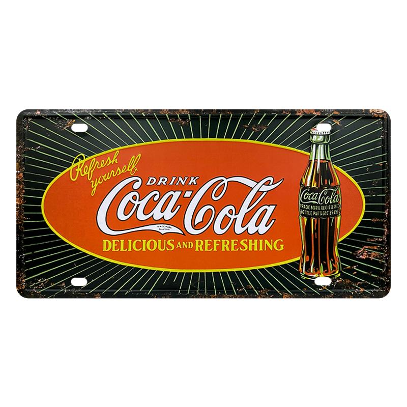 ゆうメール送料無料 新作続 流行のアイテム アメリカンレトロ調 ライセンスプレート DELICIOUS AND REFRESHING Coca-Cola コカ コーラ