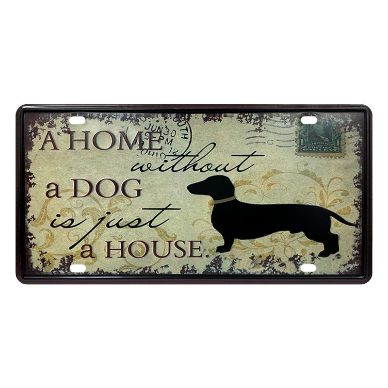 ゆうメール送料無料 訳あり特価品 [宅送] アメリカンレトロ調 ライセンスプレート a home just is 正規店 without dog house
