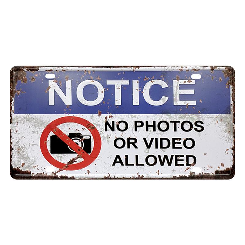 ゆうメール送料無料 訳あり特価品 アメリカンレトロ調 ライセンスプレート 推奨 NOTICE ALLOWED PHOTOS NO OR VIDEO 安い 激安 プチプラ 高品質