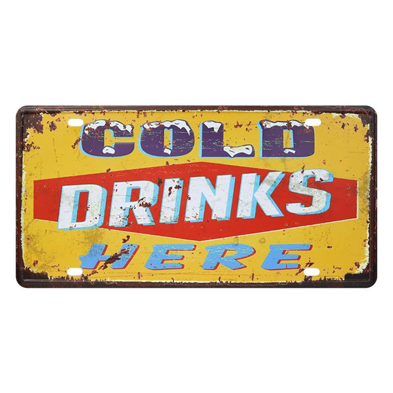 ゆうメール送料無料 アメリカンレトロ調 ライセンスプレート COLD イエロー 定価 HERE 贈物 DRINKS