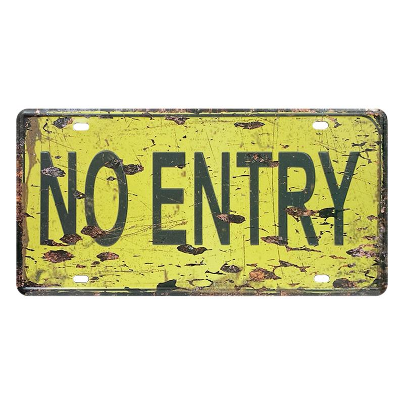 ゆうメール送料無料 アメリカンレトロ調 ライセンスプレート NO ENTRY 注目ブランド 立入禁止 注文後の変更キャンセル返品