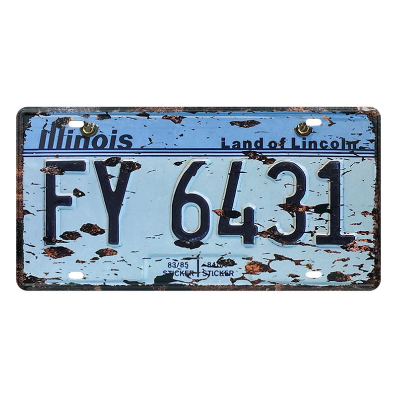 ゆうメール送料無料 最新号掲載アイテム アメリカンレトロ調 ライセンスプレート illinois Land Lincoln 超人気 6431 of FY