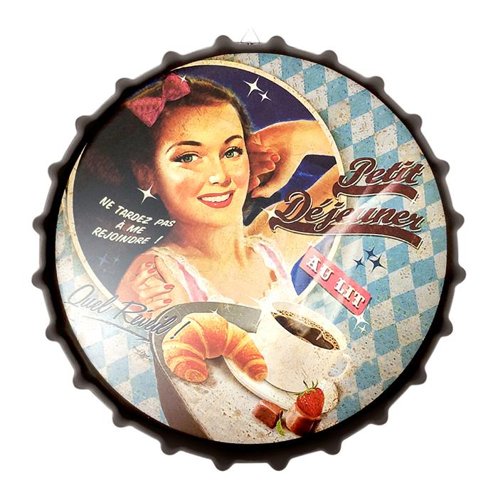 アメリカンレトロ調 王冠型 宅送 予約販売品 サインボード Petit Dejeuner ブラウン ブレックファースト